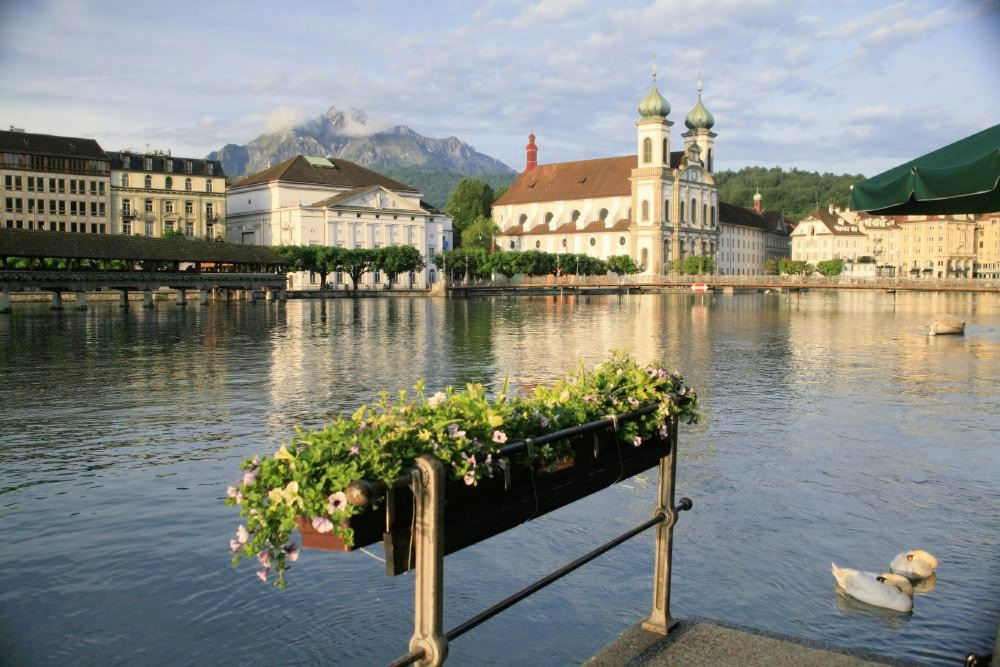 A flowerbox in the foreground, with a lake and Medieval buildings visible in the background