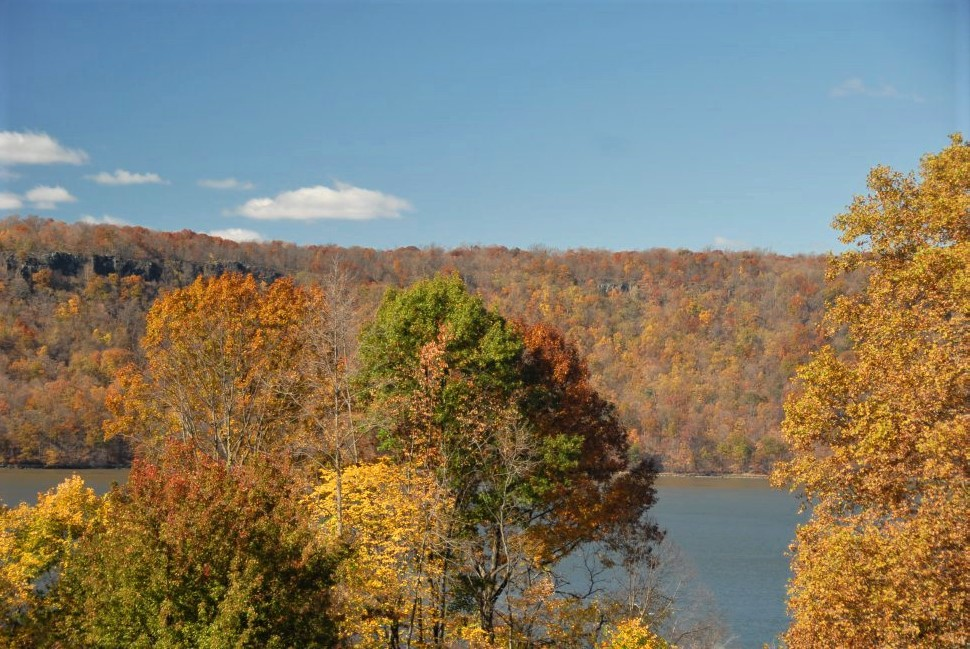 a blue lake with golden and orange foliage on the shores in the foreground and background