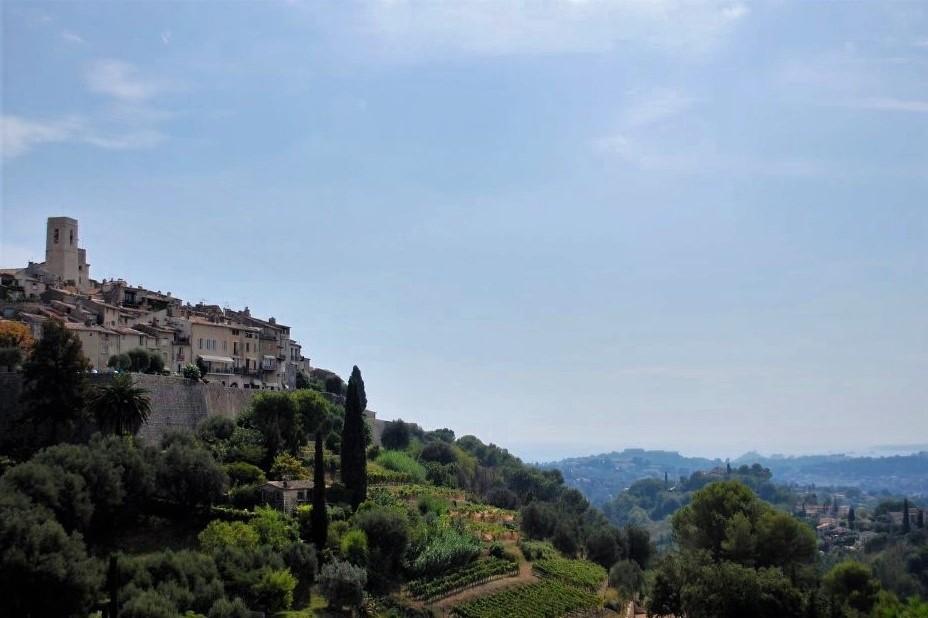 Saint-Paul de Vence monastery seen in the distance atop a hill