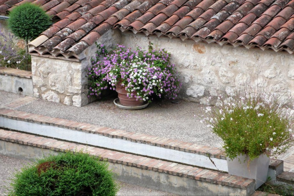 a Medieval stone courtyard with potted flowers