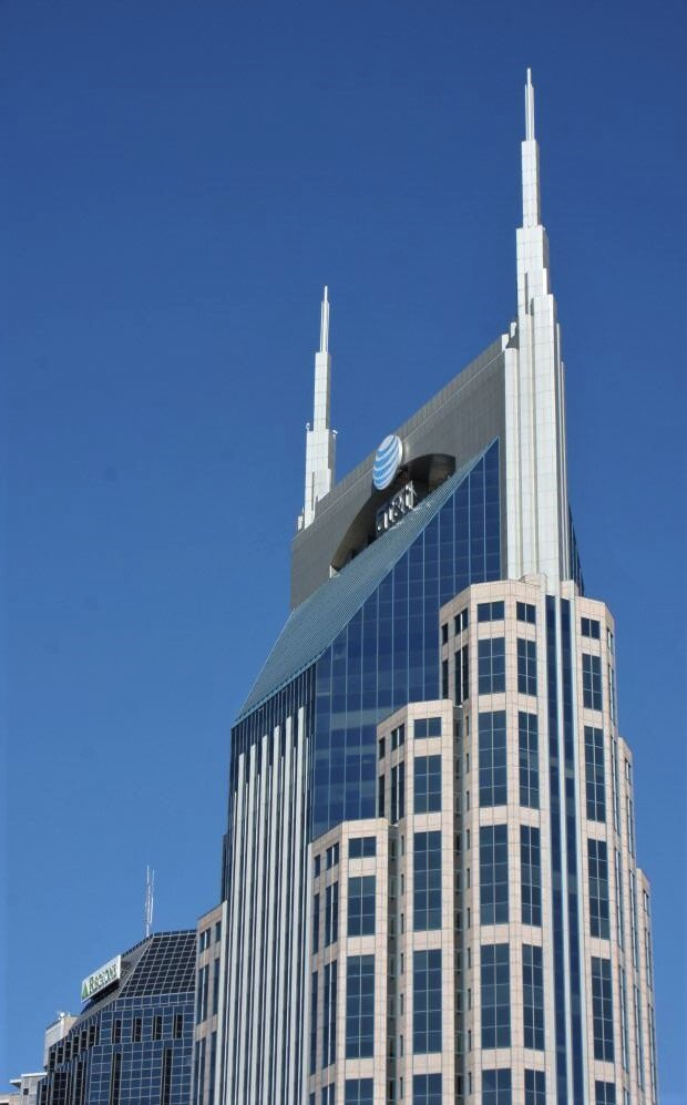 The upper part of the AT&T building in Nashville