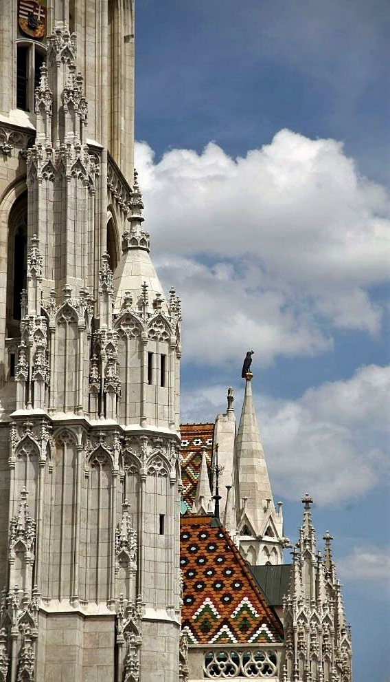 The intricate stone facade of Budapest Cathedral